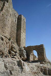 Ruinele fortaretei Masyaf din Siria, fief al assasinilor