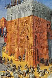 Mesteri masoni ridicand o catedrala in Evul Mediu